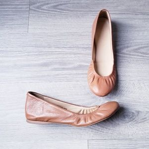 J. Crew Brown Leather Cece Ballet Flats